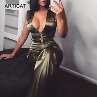 Articat Satin Deep V Neck Sexy Jumpsuit Women Rompers 2018 Autumn Pockets Buttons Wide Leg Pants Casual Party Bodysuit Playsuit