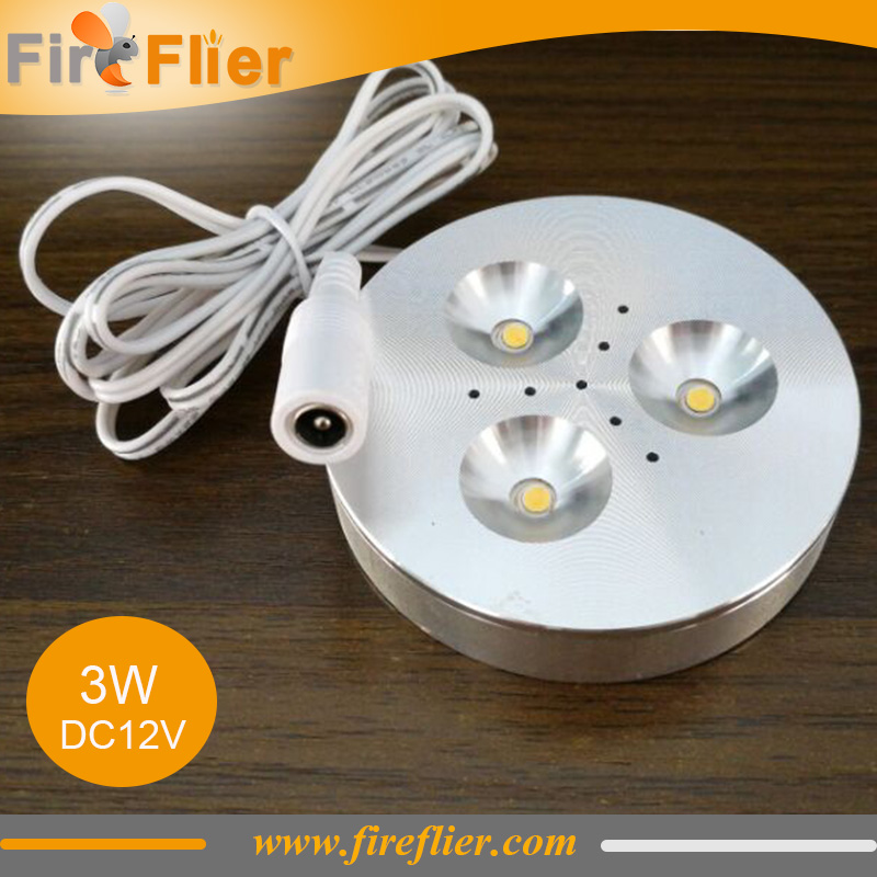 10pcs/lot Led puck light 3w under cabinet lamp for home kitchen lighting dc12v dimmable indoor mounted spotlight closet display