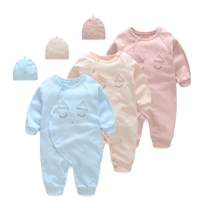 2017 100% cotton spring summer  baby rompers + cap newborn boy clothes lovely bebes   product  infant clothing girl  jumpsuits 2017 spring summer newborn cartoon rompers baby clothes girls cotton long sleeve clothing bebes boy jumpsuits infant costume