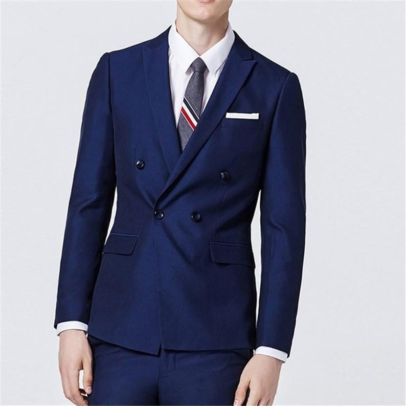 New Fashion Double Breasted Navy Blue Groom Tuxedos Groomsmen Peak Lapel Mens Suits Blazers (Jacket+Pants+Tie) W:830