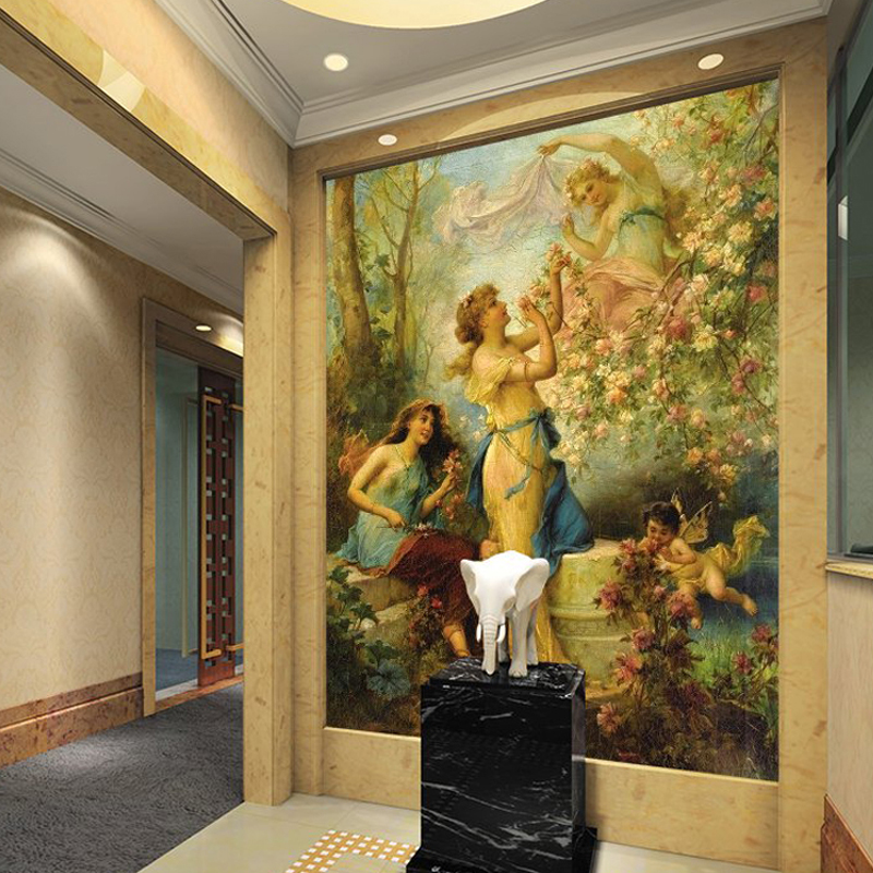 Decorating Paper Crafts For Home Decoration Interior Room: Customized European Figure Painting Living Room Entrance