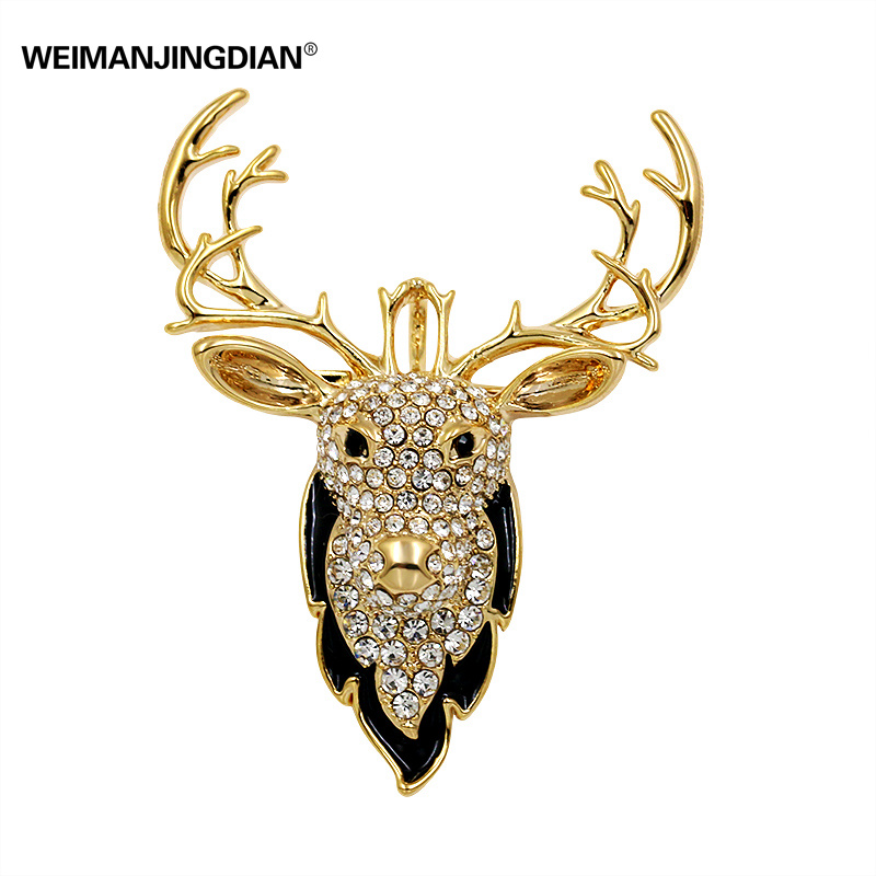 Gold Plated Clear// Black Crystal Fawn Reindeer Brooch 45mm