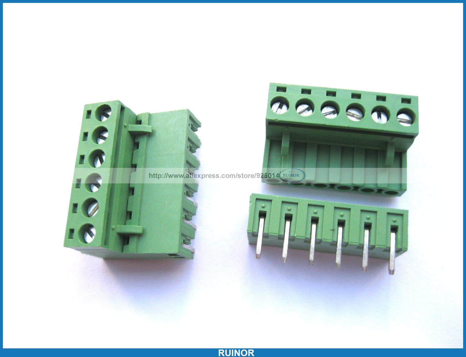 50 Pcs 5 08mm Angle 6 Pin Screw Terminal Block Connector Pluggable Type Green 1825242[pluggable terminal blocks 14 pos 5 08mm pitch thru h mr li