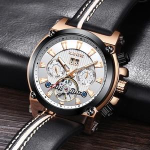 Image 4 - 2019 New LIGE Fashion Men Watches Top Brand Luxury Automatic Mechanical Watch Men Casual Leather Waterproof Sport WristWatch+Box
