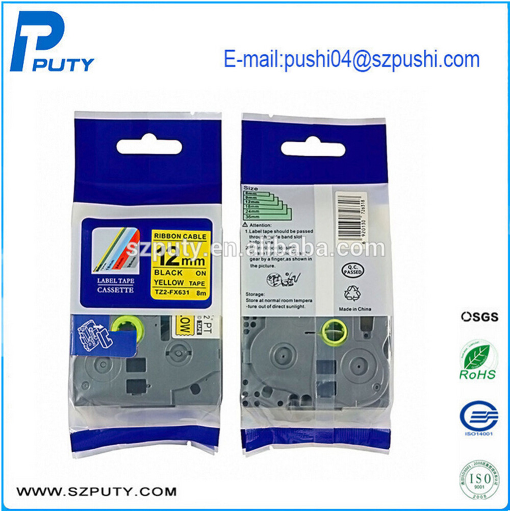 Compatible Laminated Flexible TZ Tape Cartridge TZe-FX631 TzeFX631 for Ptouch Label Maker,12mm*8m Black on Yellow