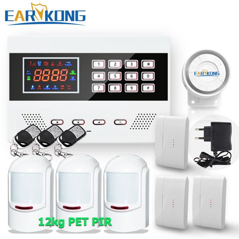 122 Zones Wired & Wireless GSM Alarm System LED Keyboard Home Security Voice Guide Two Way Intercom 433MHz