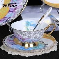 YeFine 200ML Afternoon Tea Cups And Saucers Set Royal Classic Blue And White Bone China Coffee Cups With Spoon Wedding Gift