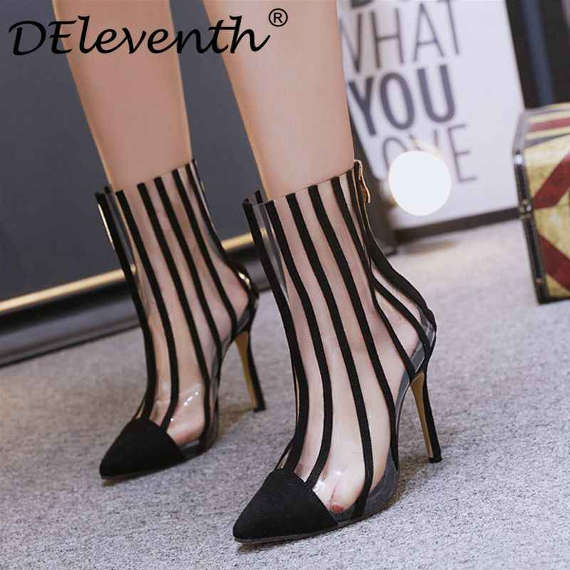 Women s shoes ankle boots transparent PVC clear high heels shoes woman  zipper striped pointed toe spring 0a3a494a5115