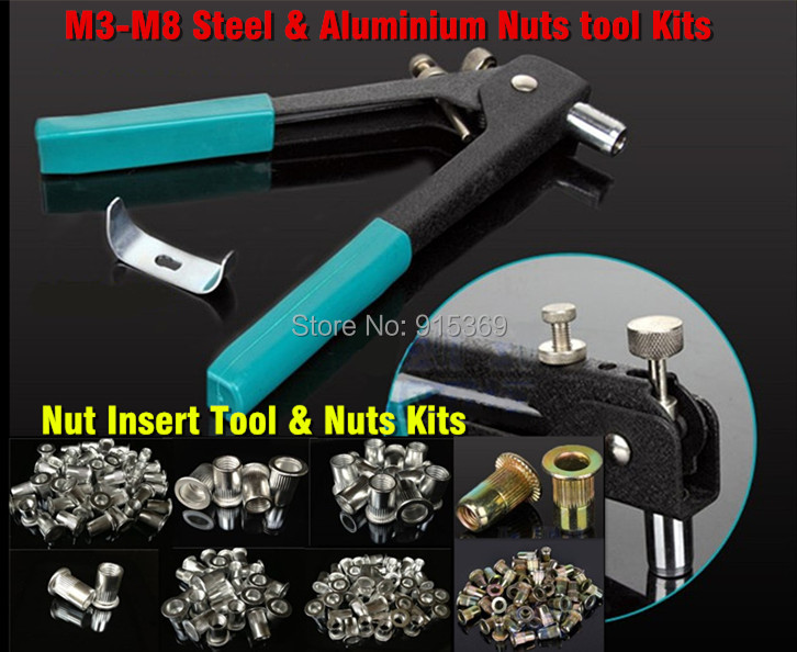 где купить Rivet Nut Tool Kits   M3-M8  160pcs Rivet Nuts + Tool Inserting tools дешево