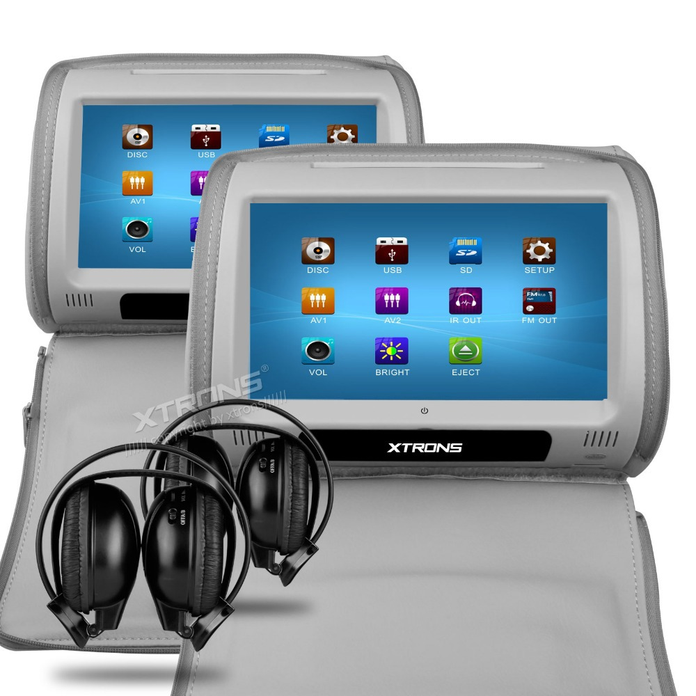 Xtrons grey 2x 9 touch screen monitors car headrest dvd player supports usb and sd