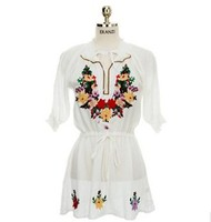 Embroidered Mexican Dress Vintage Ethnic Floral Short Sleeve V Neck Hippie Boho White Peasant Clothes