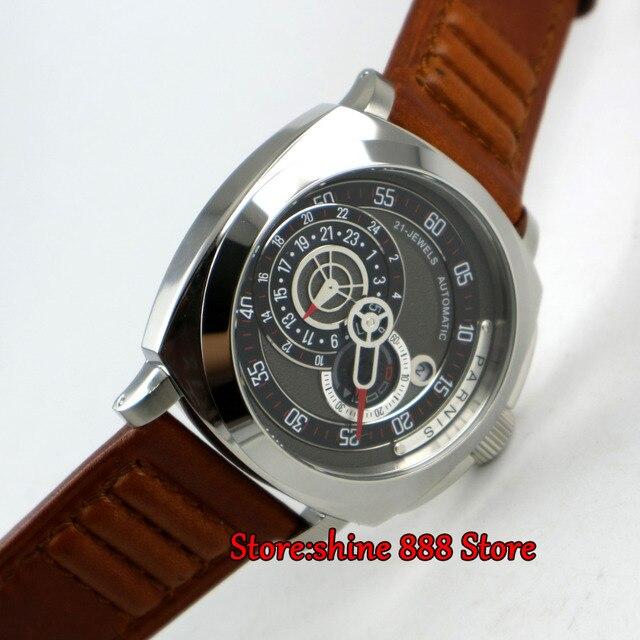 98d25f5b368 Modisch 44mm ajustar miyota Parnis mostrador preto data vidro de safira  Relógio Dos Homens movimento automático