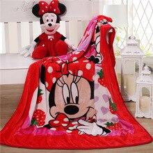 Manta de minnie de Disney de 100x140cm, manta de franela para niños, edredón para bebé, funda de edredón, manta de dibujos animados, aire acondicionado, regalo para niña y niño