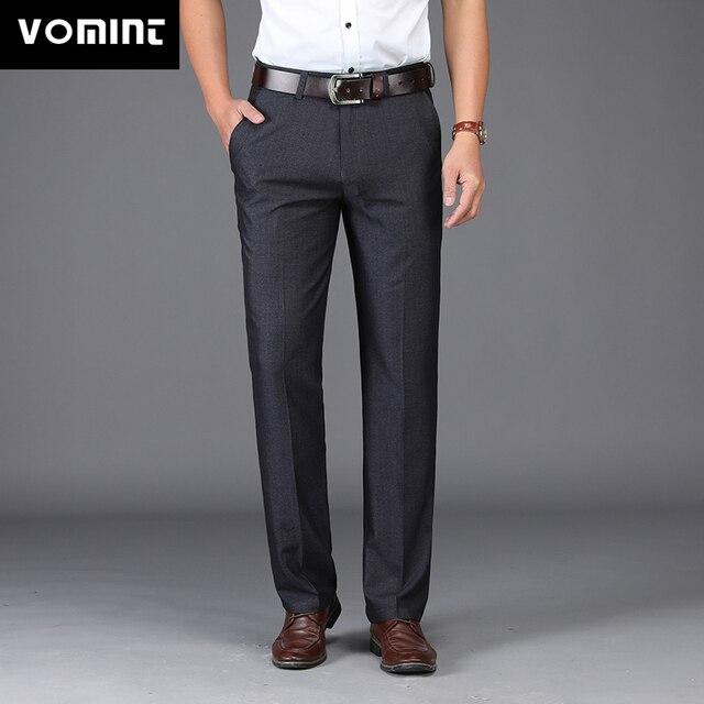 VOMINT 2018 New Suit pants Mens Pant Casual Pants Stretch Elastic FabricStraight Pant Black Business Trousers MS9801