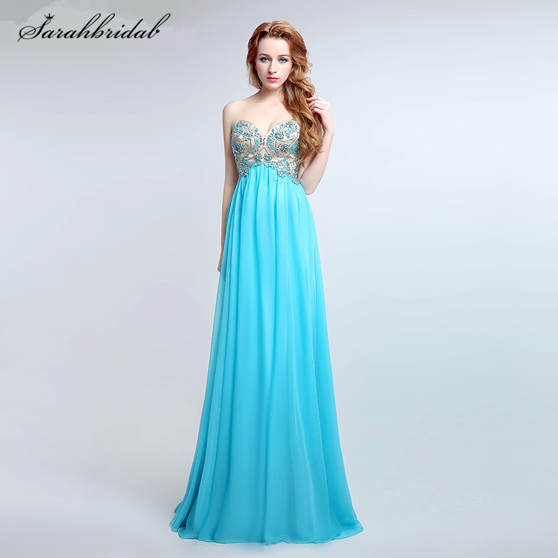 Charming Ever Pretty   Prom     Dresses   with A Line Sweetheart Backless Sleeveless High Quality Chiffon Crystal Beaded LSX175