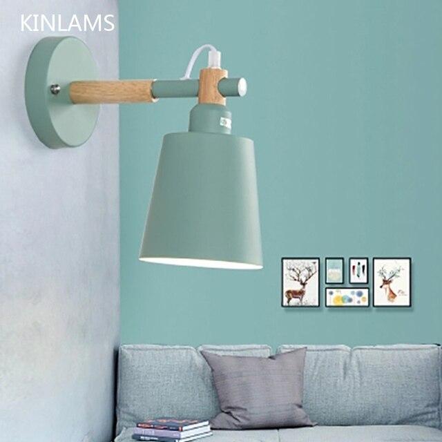 נורדי אור עץ מלא Macarons שינה מנורות קיר ליד מיטת המעבר LED אור קיר קיר צבעוני אופנה אורות למלון הבית