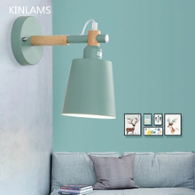 hot deal buy nordic light solid wood macarons wall lamps bedroom bedside aisle led wall light fashion colorful wall lights for home hotel
