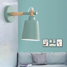 北欧光木製マカロン壁ランプの寝室のベッドサイド通路ledウォールライトファッションカラフルなウォールライト用ホームホテル