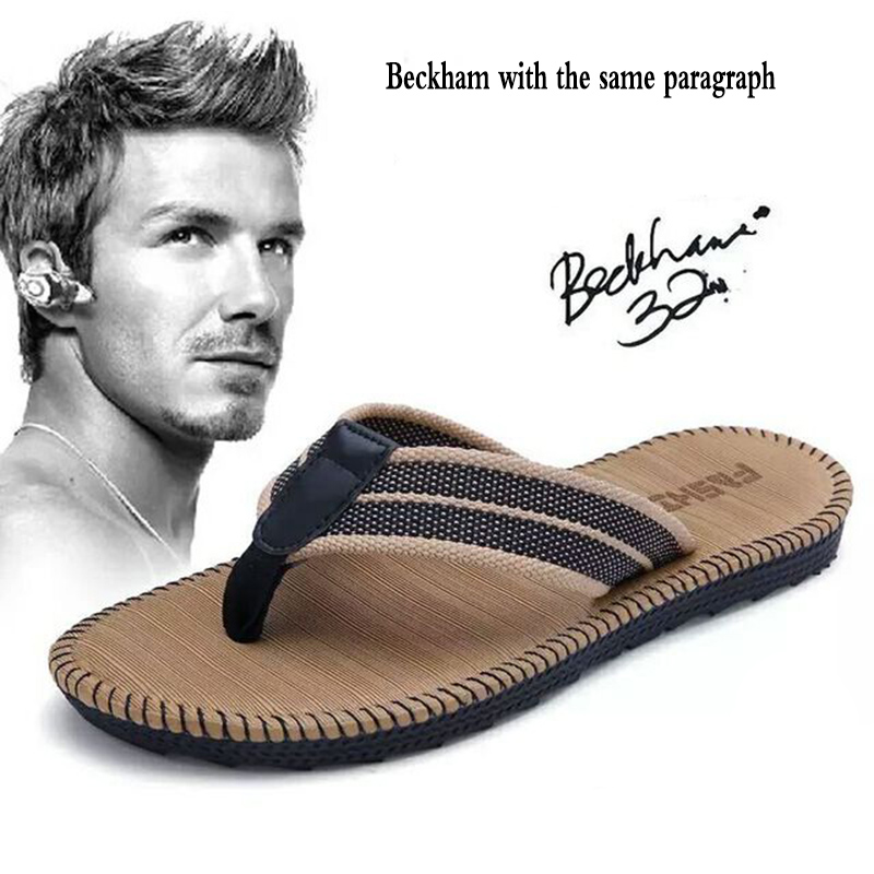 Summer Couple Flip-flops Men And Women Beckham With The Same Paragraph Beach Slippers Men's Sandals Clip Toe Drag Men's Shoes