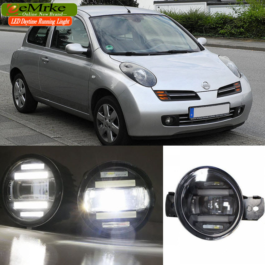 eeMrke Xenon White High Power 2in1 LED DRL Projector Fog Lamp With Lens For Nissan Micra March 2002-2015 цена
