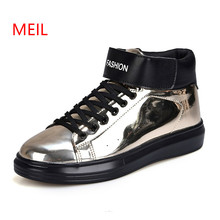 New Cool Mens Sequin Leather Rock Shoes Men Casual Fashion High Top Sneakers Comfortable Male Footwear Zapatos