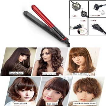 Haarglätter LCD Display 2-in-1 Keramik Haar-lockenwickler Professional Haarglätter Flache Eisen Begradigung Eisen Frisur