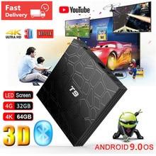 2019 T9 Android 9.0 Smart TV BOX 4GB Ram 64GB/32GB Rom RK3318 1080P H.265 4K Netflix Youtube Bluetooth 2.4G/5G WIFI Set Top Box scishion v99 hero android 5 1 tv box arm cortex a53 h 265 4gb 32gb bluetooth 4 0 4k x 2k xbmc suuport usb camera xbmc