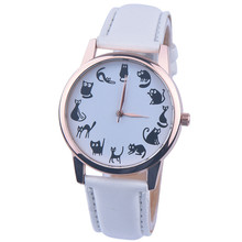 MEIBO Watches Women's Wrist Watches Black Cat Pattern Leather Watchband Life Waterproof Fashion Casual Quartz Wristwatch Clock
