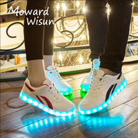 2017 New Fashion USB Charge LED Shoes for Kids Luminous Glowing Sneakers with Light Up Sole Boys Basket Femme LED Slippers 20