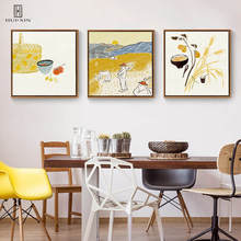 Modern True-life View Farmers Sowing Grains Food Wheat Rice Unframed HD Pattern Paintings For Restarunt Dining Room Decoration save grains saves life