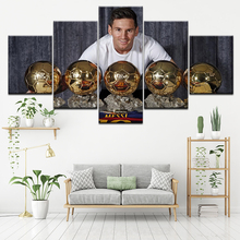Sport Football star Lionel Messi With Prize Canvas Painting 5 Pieces Wall Art Modular Picture Wallpapers Poster Print Home Decor