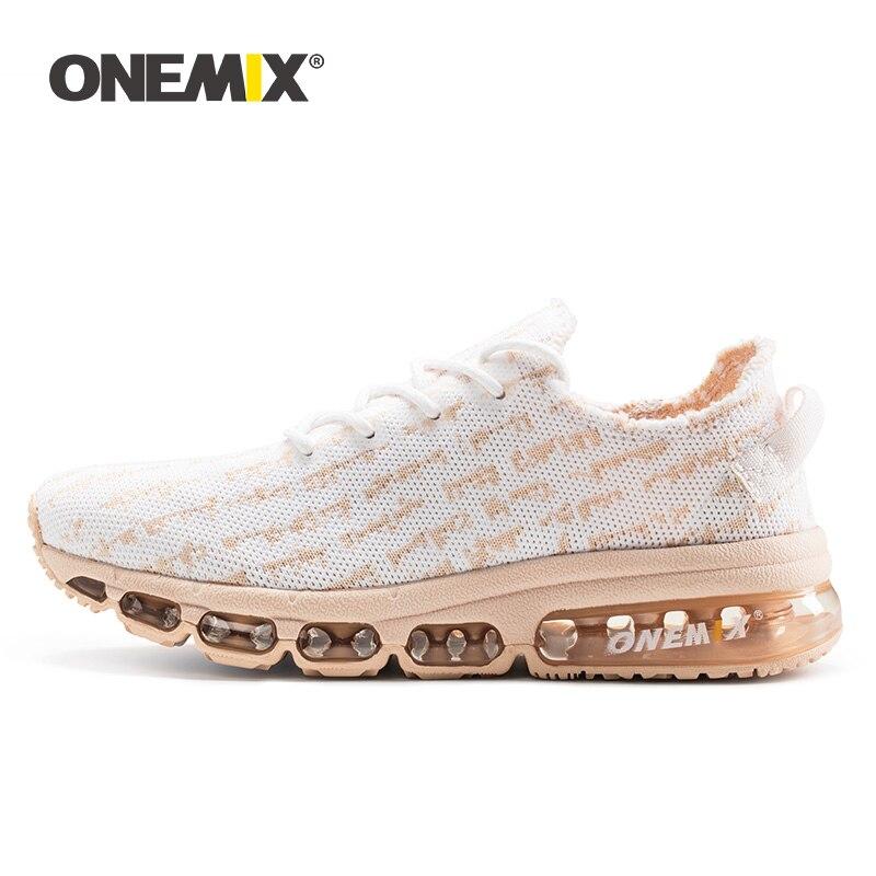 Onemix mulher running shoes leve respirável vamp almofada de ar tênis casuais ao ar livre casal jogging esporte sapatos tamanho 35-43