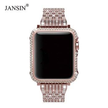 Роскошный бриллиант + нержавеющая сталь ремешок для Apple Watch Series 4 3 2 1 покрытие для ремешков iWatch 38 мм 42 40 44 браслет для женщин