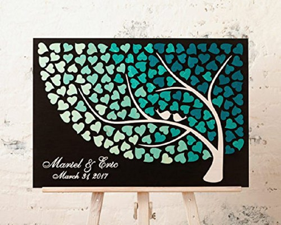 3D arbre Brids nom personnalisé mariage livre d'or, Alternative en bois coeur Signature livre d'or, personnalisé livre d'or décor de mariage