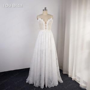 Image 2 - Robe de mariée en dentelle à bretelles Spaghetti perlées, effet dillusion, encolure, jupe courte à lintérieur, robe de mariée sur mesure en usine