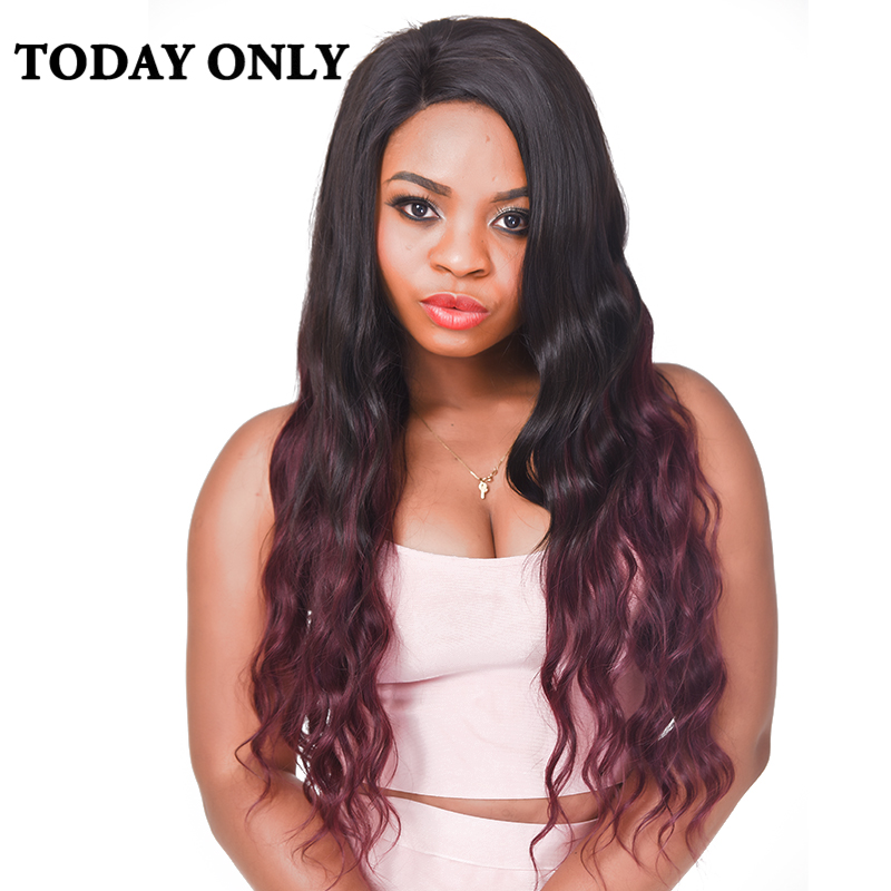 Today Only Burgundy Malaysian Body Wave Bundles Ombre