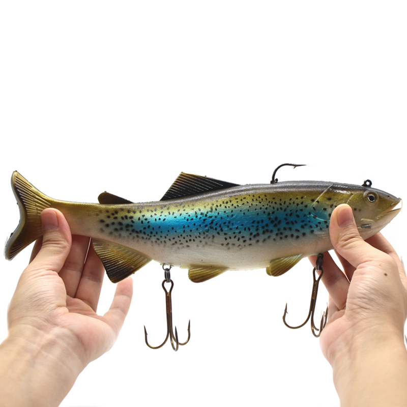 30cm 400g Huge Fishing Lure Speckled Fish Bait Soft PVC Lure Deep Sea Ocean Boat Fishing Tackle Big Artificial Baits mix color package on soft lure 15 cm shad bait soft bait for boat fishing
