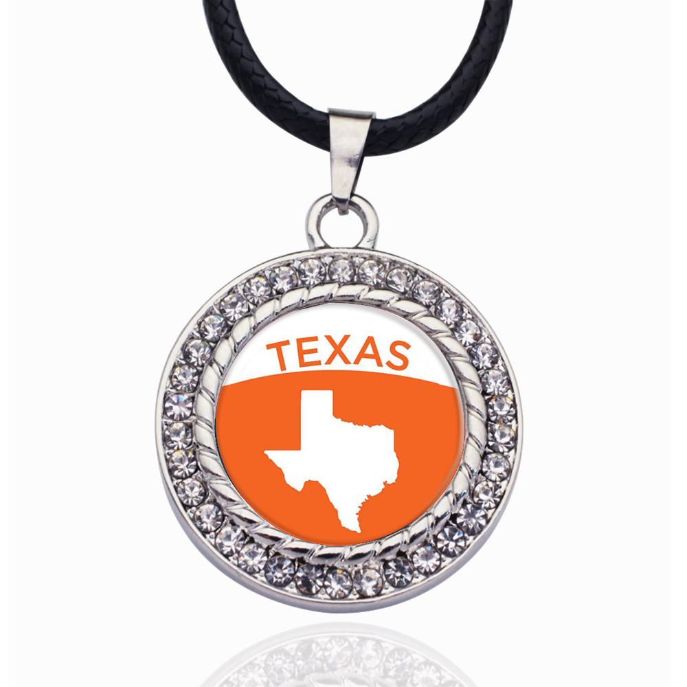 Texas Outline Circle Charm Necklace Stars Ball Pendant Crystal Collares Chain Necklace For unisex(China)