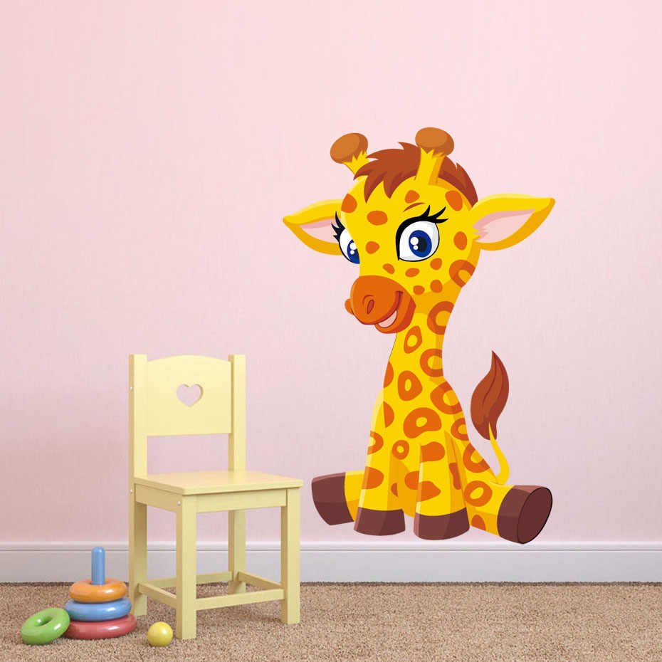 Cute baby Giraffe Full Color Wall Stickers For Kids Room Nursery Removable Wall Art Bedroom Decals Wallpaper Home Decor