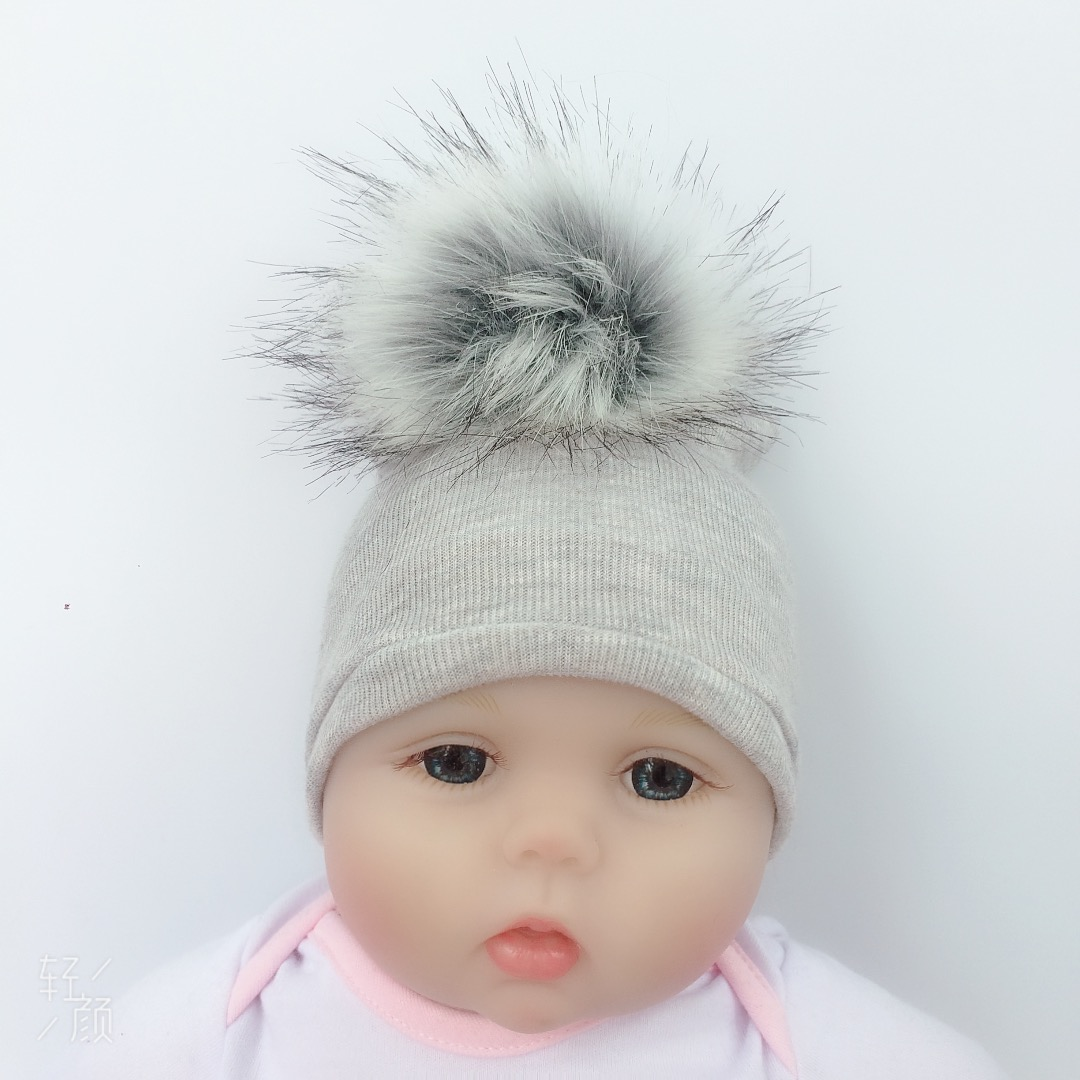 4 Years *SALE* Stunning Kids Infant Baby Ribbed Hat with Two Fur Poms// 0-1 Year