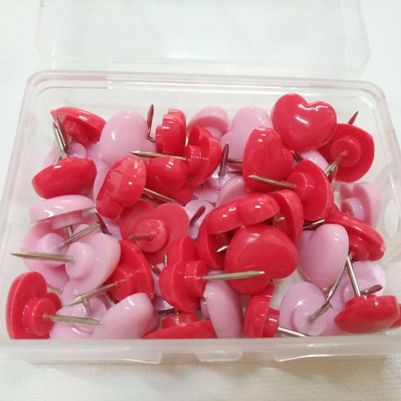 50pcs/box Heart Shape Plastic Safety Colored Push Pins Thumb