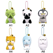 Счастливые животные лягушка собака Пингвин панда брелок куклы Мягкие плюшевые игрушки маленькие кулоны-куклы для сумок и ключей Декор