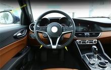 LAPETUS Interior Refit Kit For Alfa Romeo Giulia 2016 - 2020 ABS Steering Wheel Strip Lid Cover Trim / Carbon Fiber Style lapetus interior refit kit for alfa romeo stelvio 2017 2018 2019 abs steering wheel strip lid cover trim carbon fiber style