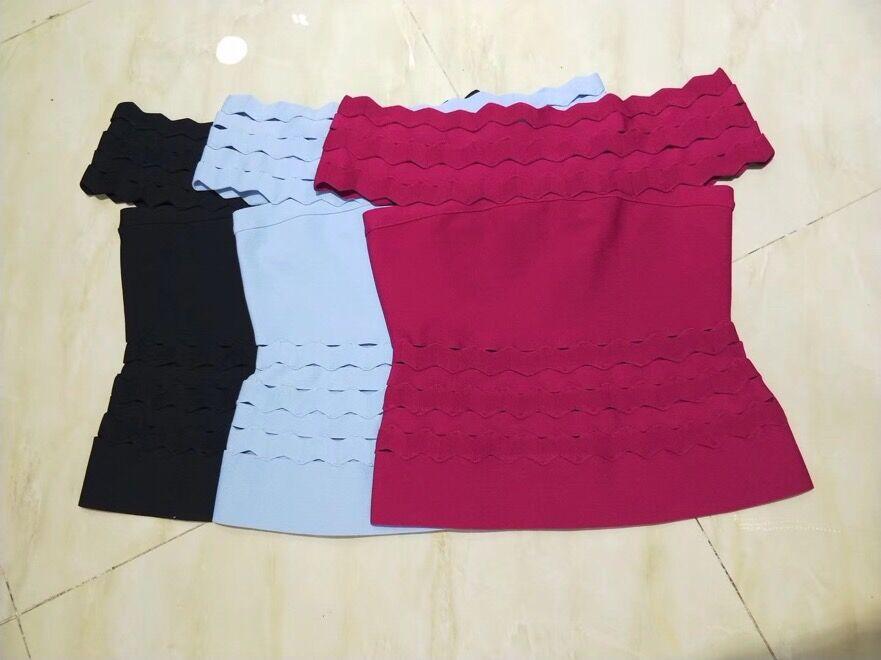 3 couleurs été mode Sexy hors épaule noir vin rouge Bandage Top 2018 tricoté élastique couleur bonbon doux haut de marque