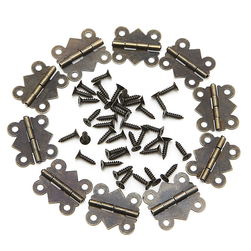 1 Set/10Pcs Mini Butterfly Door Cabinet Drawer Jewellery Box Hinge Furniture 20mm x17mm buried jewellery box