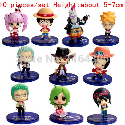 цены 10 pieces / set  Size: 5 - 7 CM PVC plastic model one piece  action figures hobbies plush doll  --- one 54 54 73  frt 45