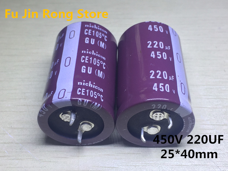 Original 2pcs 450V 220UF High Frequency Liquid Crystal Power Supply High Temperature Electrolytic Capacitor 25X40mm 220uf 450v
