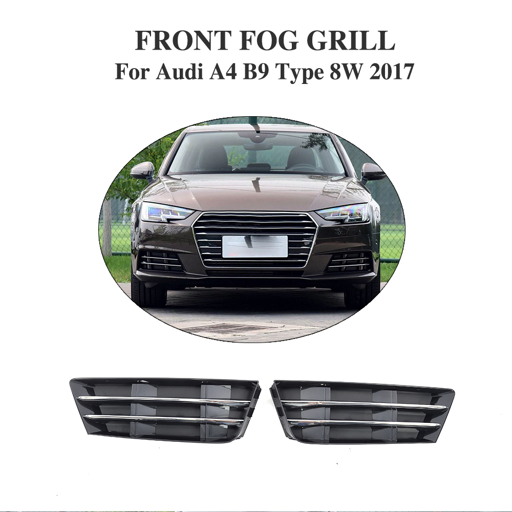 ABS front fog lights hoods mesh grill covers for Audi A4 B9 Type 8W standard bumper only 2017 10th front bumper grill abs material middle grille racing grills type r grill mesh case for honda civici 2016 2017