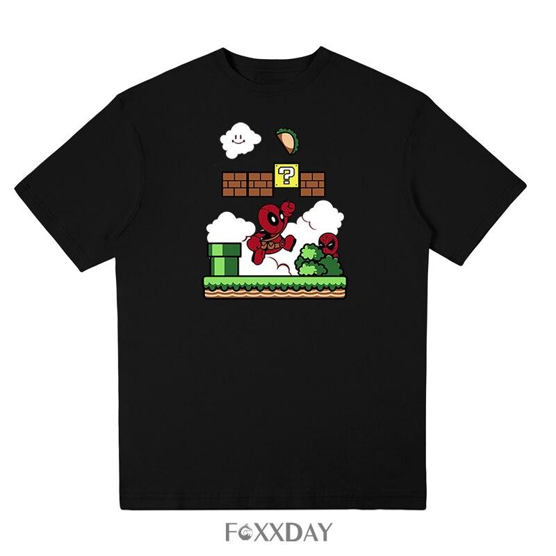Originality Deadpool Super Mario PrintedT-shirt Men New Arricals T Shirt Short Sleeves Funny Cartoon Design Male Tops Tee Shirts
