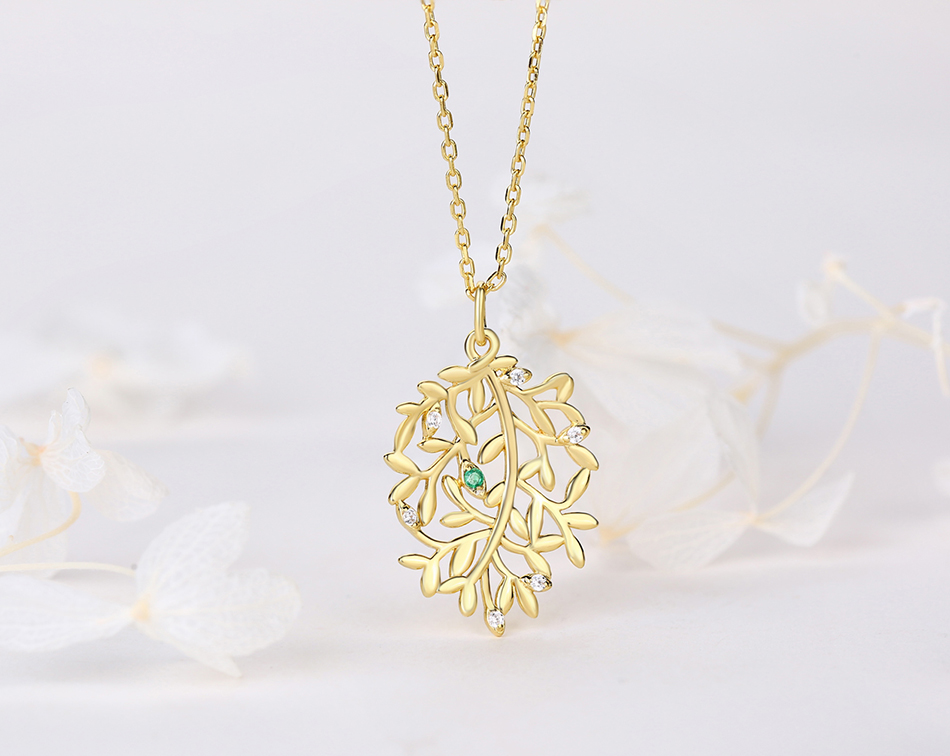 ALLNOEL Luxury Natural Emerald Pendant Real 925 Sterling Silver Leaf Necklaces For Women Link Chain Jewelry Engagement Gift New  (3)